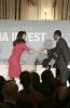 Emmanuel NGanou Djoumessi, ministre de l'Economie, de la Planification et de l'Aménagement du territoire du Cameroun, et Yasmine Bahri Domon, présidente de la Fondation EMA Invest, au 9ème forum EMA Invest à Genève, le 3 octobre 2013