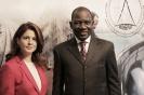 Alamine Ousmane Mey, ministre des Finances du Cameroun, et Yasmine Bahri Domon, présidente de la Fondation EMA Invest, au 9ème forum EMA Invest à Genève, le 3 octobre 2013
