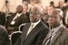 Emmanuel Bondé, ministre des Mines, de l'Industrie et du Développement technologique , et Essimi Menye, ministre de l'Agriculture du Cameroun, au 9ème forum EMA Invest à Genève, le 3 octobre 2013